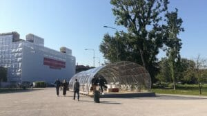 Ultra-lightweight temporary building at Tensinet Symposium 2019 realized with composite materials.